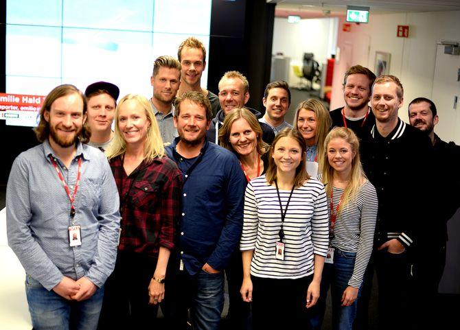 VGTV-gjengen da Medier24 var på besøk våren 2015. Redaktør Helje Solberg i midten. (Arkivfoto: Gard L. Michalsen)