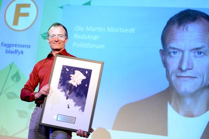 OLE MARTIN MORTVEDT får prisen «Årets bladfyk» under Fagpresseprisene 2015.