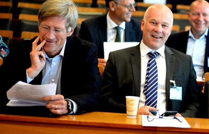 FØRPRESSEKONFERANSE: NRKs styreleder Birger Magnus og kringkastingssjef Thor Gjermund Eriksen.