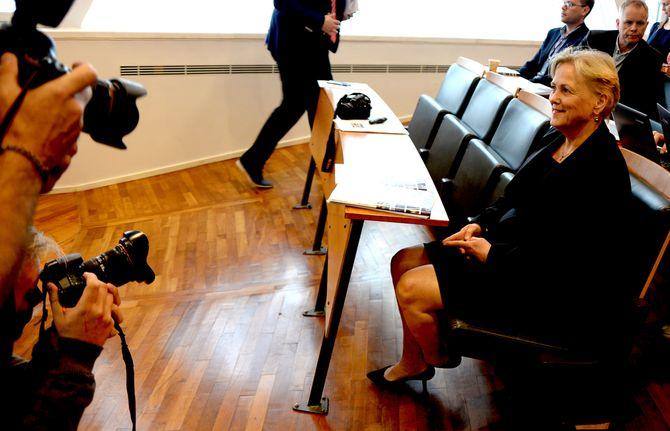 KULTURMINISTER Thorhild Widvey før fredagens pressekonferanse.
