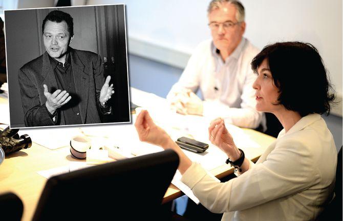 ANDERS CAPPELEN «vant» i PFU mandag. Hovedbilde: NPs generalsekretær Kjersti Løken Stavrum og PFU-leder Alf Bjarne Johnsen (arkivfoto).