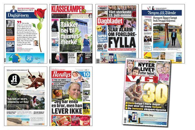 ...forsidene til de samme avisene øverst i saken i fjor - 22. juli 2014. (Trykk på bildet for større versjon)