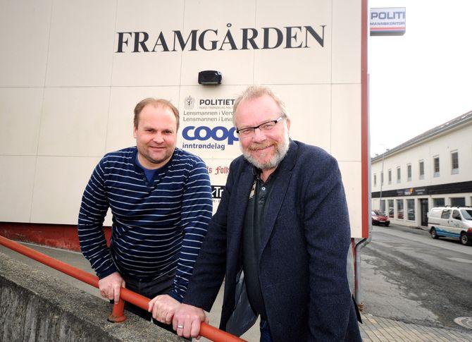 Daglig leder Odd Arild Sandnes og Roger Rein foran avishuset i Verdal. (FOTO: Kristian Stokdahl, Innherred)
