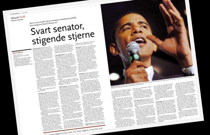 Faksimile fra Butenschøns reportasje om Barack Obama i Morgenbladet for ti år siden. Den gang avslørte Klassekampen at intervjuet var et plagiat fra en amerikansk avis.