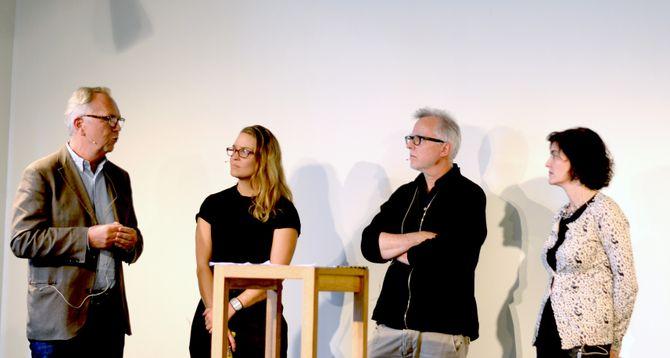 Fra venstre: Aftenpostens stabssjef Arild Kveldstad, Hypers Gro Larsson og Fred Hauge, og generalsekretær Kjersti Løken Stavrum i Norsk Presseforbund.