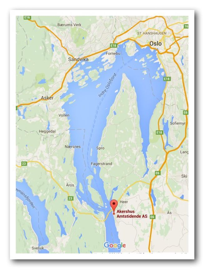 """For de som lurer på hvor vi er. Nesodden ligger øverst på """"spissen"""" av halvøya, rett overfor Oslo."""