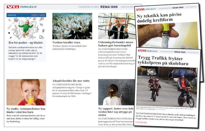 VG Familieliv - «i samarbeid med Rema 1000» - har møtt mye kritikk de siste ukene.