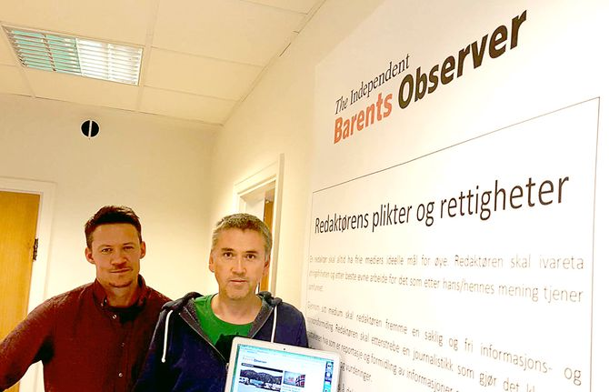 ATLE STAALESEN og THOMAS NILSEN er i gang med The Independent Barents Observer. (Foto: Privat)