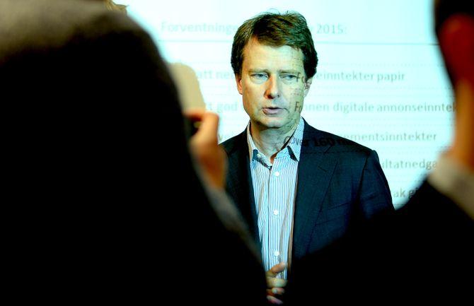 KONSERNSJEF PER AXEL KOCH i Polaris Media ASA - her under resultatpresentasjon for 3. kvartal på Aker brygge i oktober 2015. (Arkivfoto: Gard L. Michalsen)