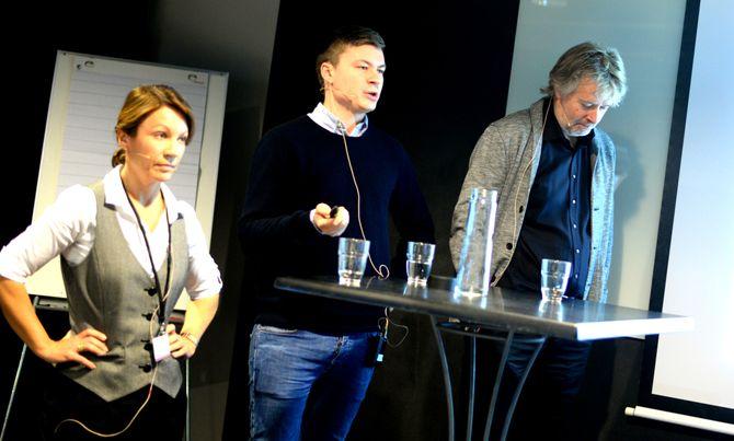 Redaktørpanelet: Kjersti Sortland, Jostein Larsen Østring og Torry Pedersen.