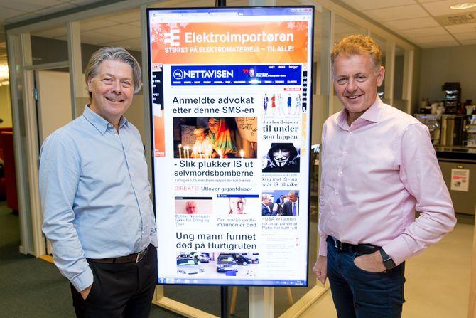 Nyhetsredaktør Erik Stephansen og ansvarlig redaktør Gunnar Stavrum i Nettavisen. (Foto: Mediehuset Nettavisen)