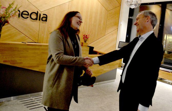 Konserntillitsvalgt møter konsernsjef: Eva Stenbro og Are Stokstad.