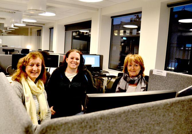 SALG OG MARKED: Tre av de nær 200 ansatte som har fått nye kontorer denne uka. Fra venstre - Rita Rødahl, Silje Marisol og Sigrunn Johannessen.