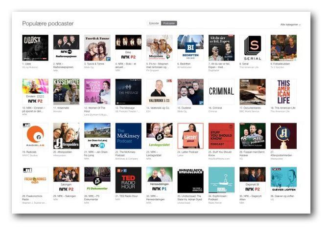 Den norske topplista for podkaster i iTunes.