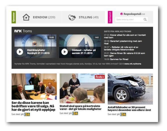 Slik presenterer Nordlys.no nå innhold fra NRK Troms.
