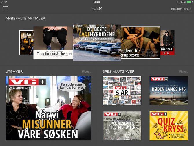 NÅ: Dagens VG+, her ved iPad-versjonen.