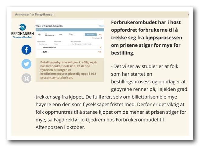 En sitat fra Forbrukerombudet til en journalist ble før jul brukt i en reklame for Berg-Hansen.