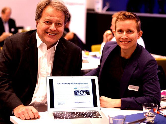 NYTT SYSTEM: Adm. direktør og ansvarlig redaktør Jan M. Moberg og Øystein W. Høie, direktør forretningsutvikling. Sammen presenterte de publiseringssystemet Neo på Fagpressedagen for noen uker siden.