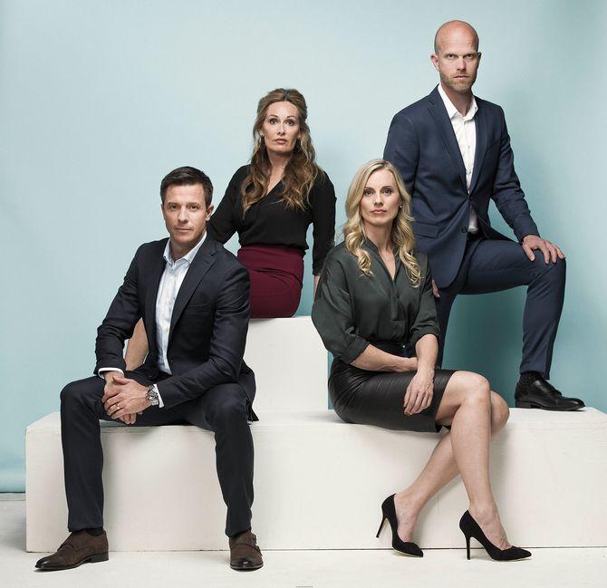 PRESSEBILDE: Luksusfellen fra TV 3 med sine eksperter. Et godt eksempel på et typisk PR-foto? (Foto: TV 3)