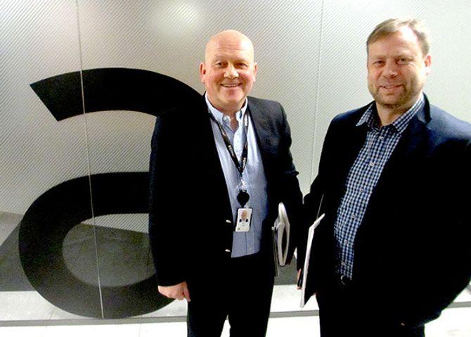 Konserndirektør Pål Eskås og direktør forbrukermarked, Haakon Johansen, i Amedia.