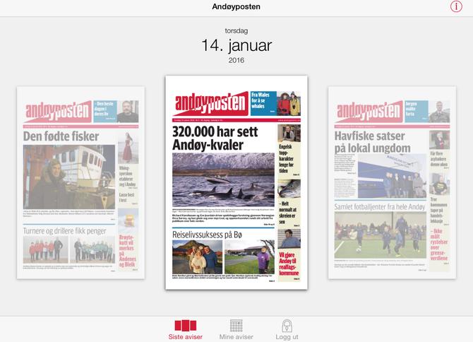 Andøyposten kom tidlig digitalt, om ikke på faks. For noen år siden også med egen app.