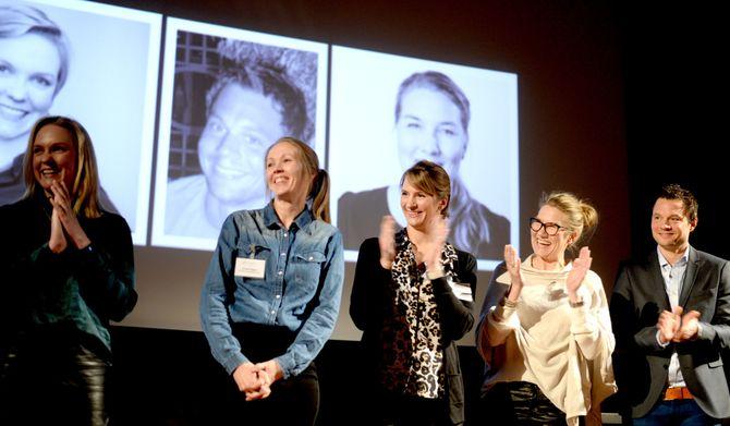 De nominerte, fra venstre: Ida Bryhni (Clear Channel), Kristin Sagen, (CAPA), Hanne Markussen Myhr (Egmont), Nina Feyling Pedersen (VG) - og Joachim Bro (Aftenposten/Storby).
