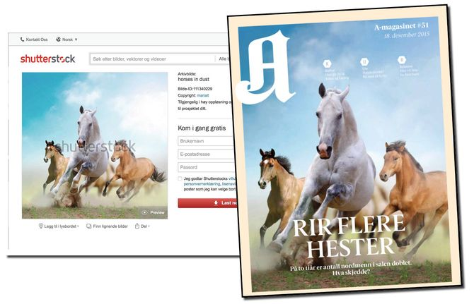 A-magasinets cover 18. desember - og skjermbilde fra fototjenesten Shutterstock.