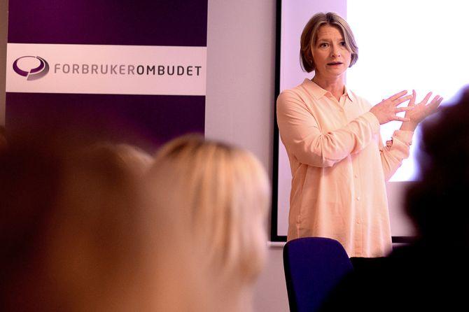 Forbrukerombud GRY NERGÅRD på pressefrokost om ombudets prioriteringer, i januar 2016. (Arkivfoto: Gard L. Michalsen)