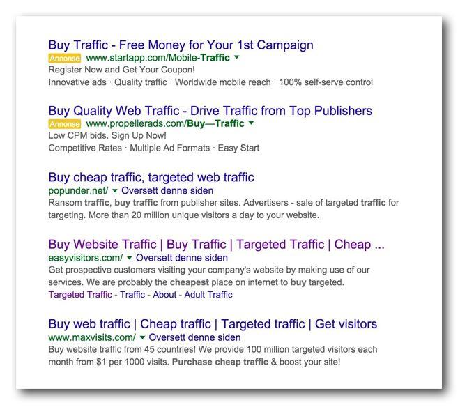 Et kjapt søk på Google gir deg nok av tilbydere som hevder å kunne levere falsk trafikk til din nettside.