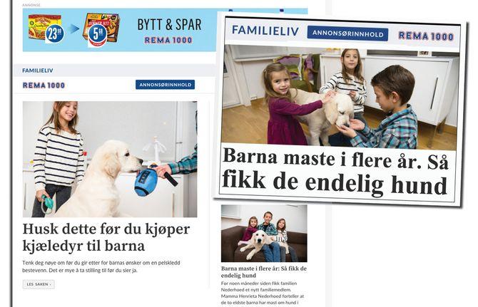 Slik presenteres nå seksjonen «Familieliv» - her på seksjonsforside (t.v.) og forsiden på VG.no.