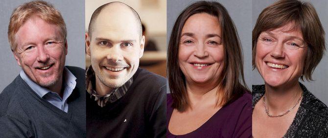 Kai Aage Pedersen, Anders Opdahl, Heidi Pleym og Sigrid Gjellan er fire av fem nye regionredaktører. (Foto: Ole Kaland/NRK og Yngve Olsen Sæbbe)