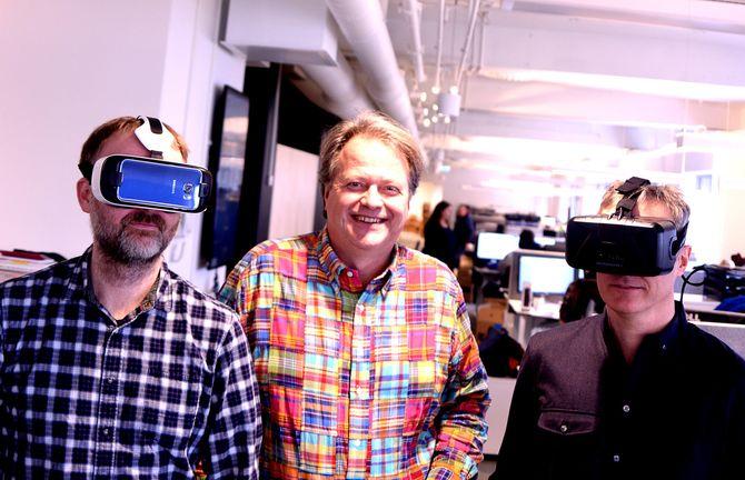GÅR ALL INN PÅ VR: Teknisk Ukeblad Media har fått Google-penger til å lage innovasjon og journalistikk med Virtual Reality. Fra venstre: Journalist Eirik Helland Urke, adm. direktør og ansvarlig redaktør Jan Moberg - og digital redaktør Svein-Erik Hole. (Arkivfoto: Gard L. Michalsen)