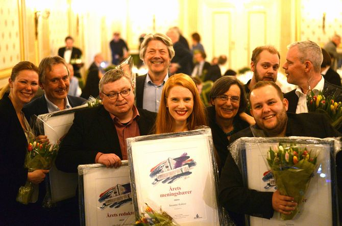 Alle vinnerne og nominerte. (Foto: Reidun K. Nybø, Norsk redaktørforening)
