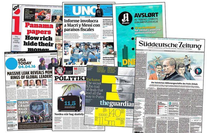 Noen av de mange avisoppslagene om Panama Papers våren 2016. (Faksimiler)
