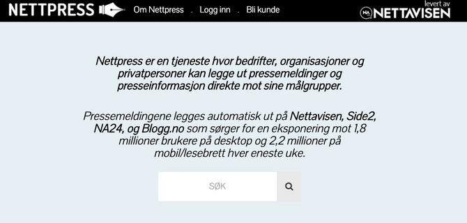 Slik møter Nettpress kundene på Nettavisens nye tjeneste.