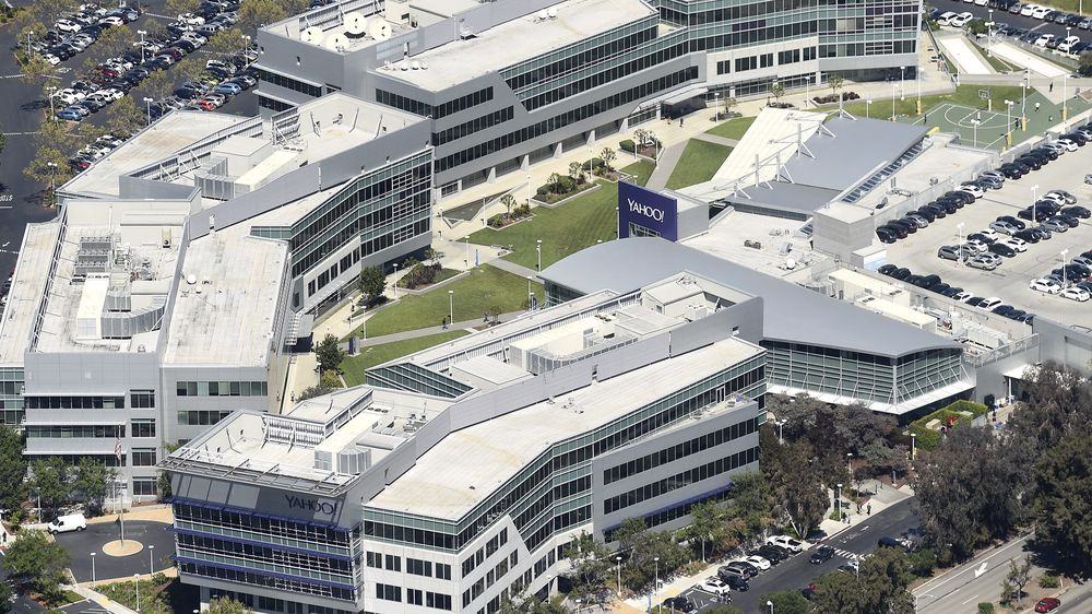 The Yahoo campus is shown in an aerial photo in Sunnyvale, California, U.S. April 6, 2016. REUTERS/Noah Berger/File Photo