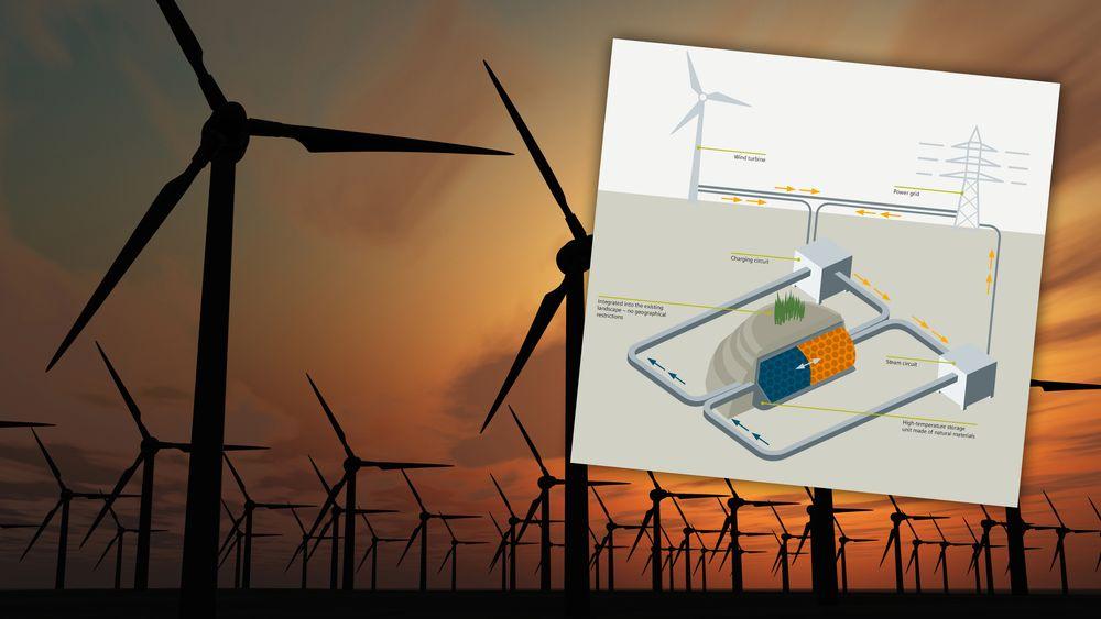 Siemens skal lagre vindkraft som varme i en isolert bunker.