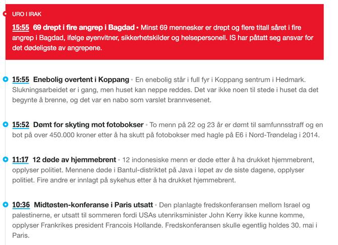 LANG PAUSE: NRK fikk ikke publisert 17. mai-stemning og andre nyheter hele formiddagen.
