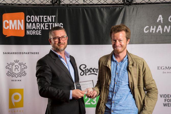 Hans-Petter Nygård Hansen og Preben Carlsen - her da de to delte prisen for «Årets thought leder» på Content Marketing Awards for noen uker siden.