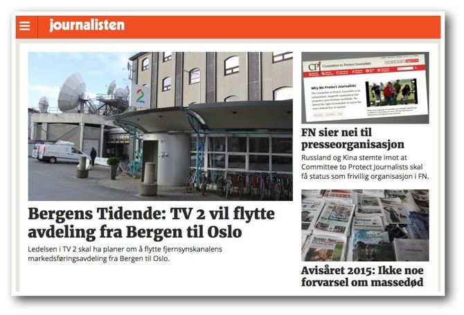 (Faksimile: Journalisten.no fredag morgen)
