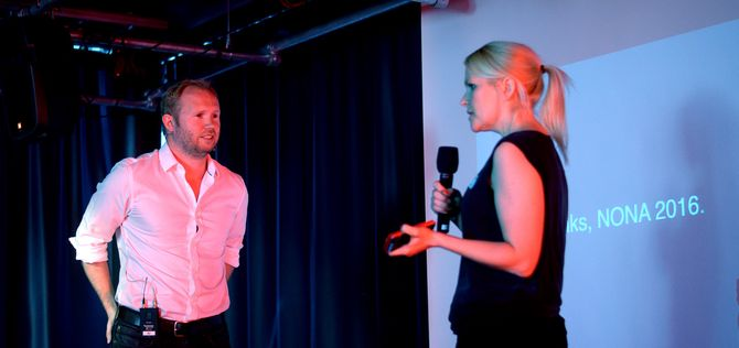 Tony Haile i samtale med Dagbladet og Allers digitaldirektør Hildegunn Soldal.