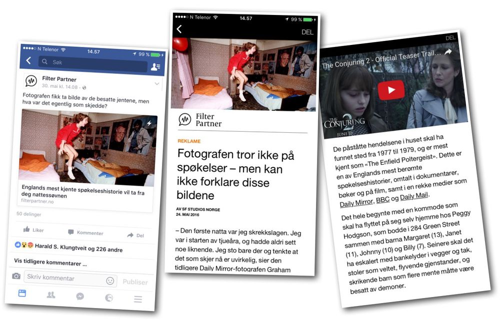 Slik ser Filter Partners native ad for The Conjuring ut. Den finner du på Facebook-siden «Filter Partner».
