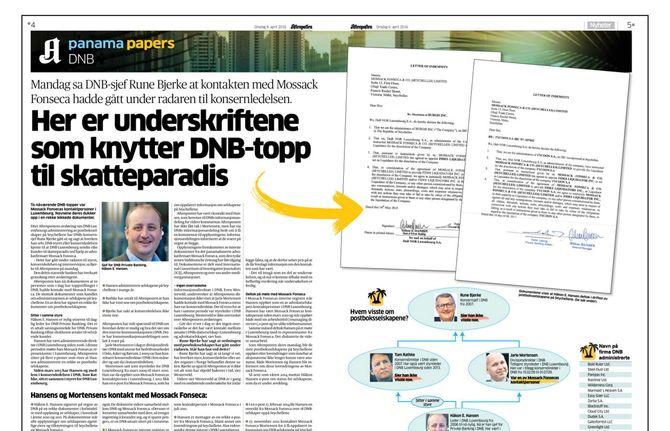 (Faksimile: Aftenpostens omtale av DNB og Jarle Mortensens påståtte kontakt med Mossack Fonseca).