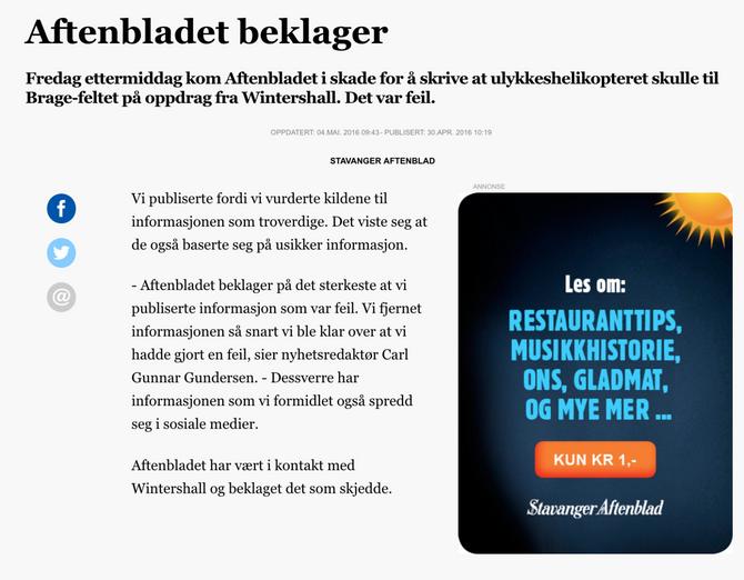 Slik beklaget Aftenbladet feilen - men det opphever ikke det presseetiske overtrampet, konstaterer PFU.