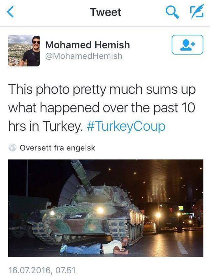 Mange på Twitter har retweetet bildet av tanks-mannen.