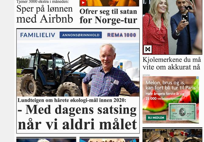 (Faksimile: Forsiden på VG.no)