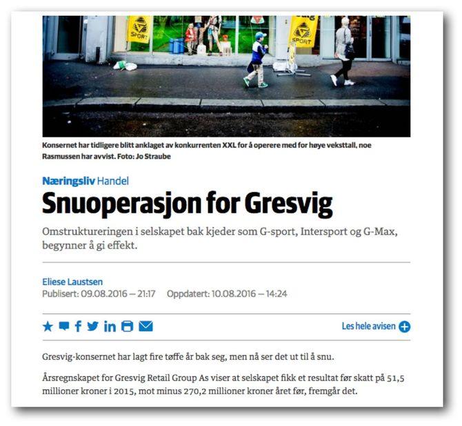 DNs mildt sagt misvisende Gresvig-omtale står fortsatt å lese på nett i sin opprinnelige form.