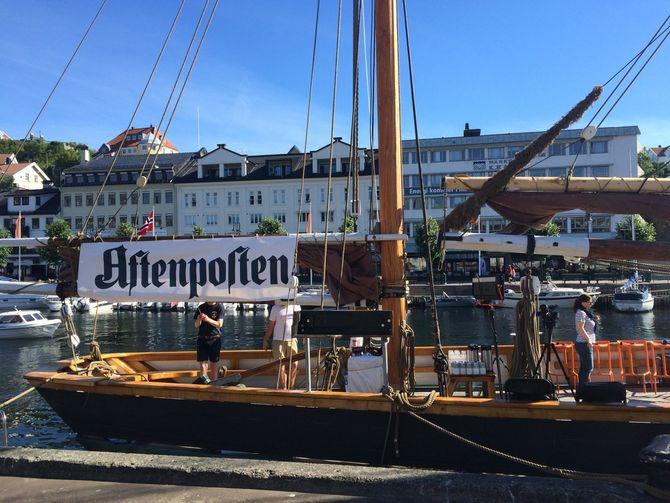 Fra fjorårets mediebåt på Arendalsuka.