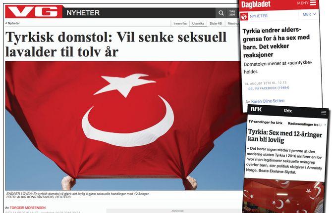 (Fra VG, Dagbladet og NRKs dekning i sommer av den såkalte «pedofili-loven» i Tyrkia).