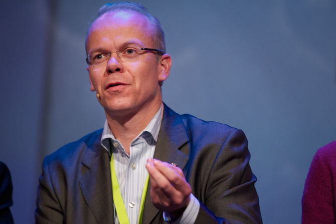 Er blitt størst, men trolig bare forbigående? Google Norge-sjef Jan Grønbech. (Foto: Eirik Helland Urke / Nordiske Mediedager)